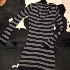 BCBGMAXAZRIA silk cashmere blend striped dress xs